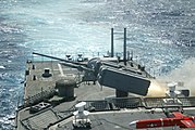 US Navy 031105-N-0000D-003 USS O'Brien launches a surface-to-air NATO Sea Sparrow missile