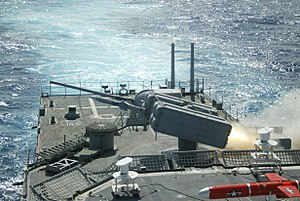 US Navy 031105-N-0000D-003 USS O'Brien launches a surface-to-air NATO Sea Sparrow missile.jpg