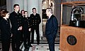 US Navy 040405-N-5390M-002 Secretary of Defense Donald Rumsfeld, take time out of his busy schedule to talk with a group of Midshipmen about the Commanders in Chief's Trophy.jpg