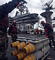US Navy 070208-N-8923M-016 Sailors assigned to weapons department remove replenishment pendant from a pallet of MK 83-BLU-110 general-purpose bombs aboard USS Harry S. Truman (CVN 75).jpg