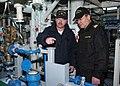 US Navy 070216-N-0577G-006 Gas Turbine System Technician Senior Chief Jeffery Long gives Senior Chief Varo Iordache from the Romanian Ship (ROS) Regele Ferdinand a tour of main engine room.jpg