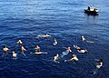 US Navy 070704-N-4953E-001 Sailors assigned to Arleigh Burke-class guided-missile destroyer USS Stethem (DDG 63) enjoy the cool waters of the Pacific Ocean during a swim call on the Fourth of July.jpg