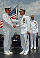 US Navy 080712-N-1083F-071 Adm. Robert Willard, commander of the U.S. Pacific Fleet, congratulates Vice Adm. Doug Crowder aboard the amphibious command ship USS Blue Ridge (LCC 19).jpg