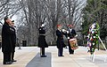 US Navy 090118-N-9923C-025 President-elect Barack Obama, left, Vice President-elect Joe Biden and Maj. Gen. Richard Rowe, Chairman of the Armed Forces Inaugural Committee, lay a wreath at the Tomb of the Unknowns at Arlington N.jpg