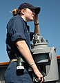 US Navy 090129-N-5684B-026 Ens. Atwell stands a navigational watch aboard the guided missile destroyer (DDG 72) USS Mahan.jpg