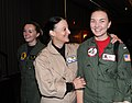 US Navy 090228-N-7863V-582 Rear Adm. Wendi Carpenter congratulates Lt. j.g. Carolyn Bloomfield for earning her carrier qualifications.jpg
