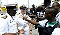 US Navy 100310-N-7948C-250 Capt. Cindy Thebaud, and Ghanaian navy Lt. Cmdr. Samuel Ayelazono speak with Ghanaian media.jpg