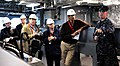 US Navy 100325-N-7653W-145 Fire Controlman 1st Class Jeffry Gibson gives media personnel a tour of the bridge aboard USS Independence (LCS 2).jpg