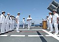 US Navy 100623-N-3327M-055 Sailors participate in a burial at sea aboard USS Chosin (CG 65).jpg