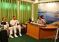 US Navy 101016-N-6770T-288 Capt. Dave Welch, center, deputy commodore of Destroyer Squadron (DESRON) 31, and Lt. Cmdr. Mike Morley, left, public af.jpg