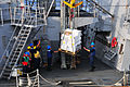 US Navy 110612-N-ZS026-238 Sailors aboard USS Bulkeley (DDG 84) receive a pallet of frozen food from USNS Alan Shepard (T-AKE 3) during a replenish.jpg