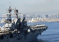 US Navy 111114-N-ZZ999-044 The amphibious assault ship USS Makin Island (LHD 8) departs Naval Base San Diego on its first operational deployment to.jpg