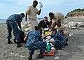 US Navy 120203-N-CD652-004 U.S. Naval Hospital Guantanamo Bay emergency technician (EMT) trainees work with Naval Station Guantanamo Bay firemen to.jpg