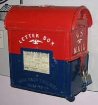 """This antique """"letter-box"""" style U.S. mailbox is both on display and in use at the Smithsonian Institution Building."""