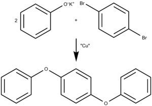 Polyphenyl ether - Figure 3: Ullmann Ether Synthesis of 4R2E (p-diphenoxybenzene), a simple polyphenyl ether