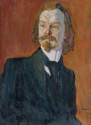 Konstantin Balmont - K. Balmont. A portrait by Nikolai Ulyanov (1909)