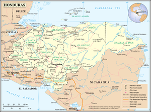 Geography of Honduras - A map of Honduras.