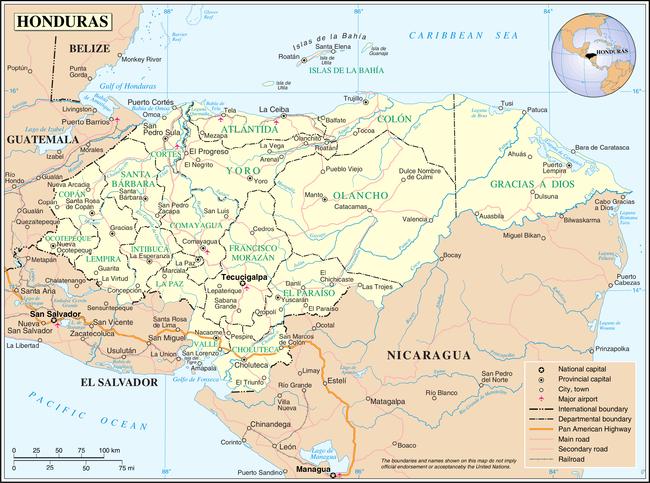 Honduras Wikipedia - Map of honduras