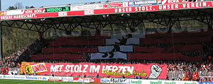 Enthusiasm - Enthusiastic supporters choreography during a football match of the 1. FC Union Berlin.