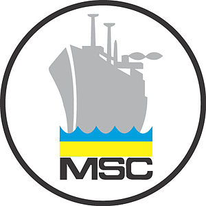 Military Sealift Command - The logo of Military Sealift Command shows an outline of a grey ship on a stylized ocean displaying blue and gold stripes.