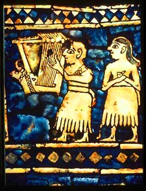 "Nevel (instrument) - Detail of the ""Peace"" panel of the Standard of Ur showing lyrist, excavated from the same site as the Lyres of Ur."