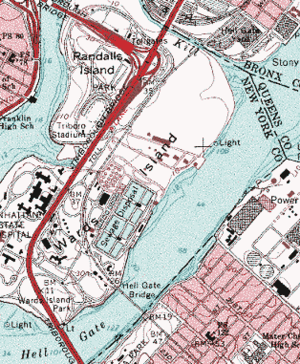 Hell Gate - USGS topographic map showing Hell Gate at the very bottom