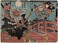 Utagawa Yoshifuji - Onzôshi Ushiwakamaru and Musashibô Benkei on Gojô Bridge.jpg