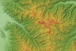 Utsukushigahara Volcano Relief Map, SRTM-1.jpg