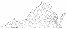 Location of Claremont, Virginia