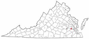 Claremont, Virginia - Image: VA Map doton Claremont
