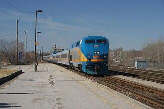 Québec City–Windsor Corridor (Via Rail) - A Via Rail train approaching Belleville station