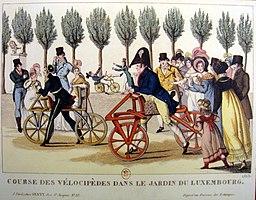 Velocipedes, Jardin de Luxembourg, 1818
