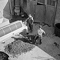 Verwijderen van de schillen en pitten uit de Willmes-pers, Bestanddeelnr 254-4217.jpg