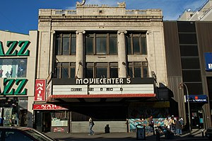 """Victoria Theater (New York City) - The façade of the Victoria Theater, showing its most recent name of """"Moviecenter 5"""""""