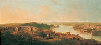 Millmount Fort - View of Drogheda from Millmount by Gabrielle Ricciardelli c. 1753. Richmond Barracks can be seen in the centre left.