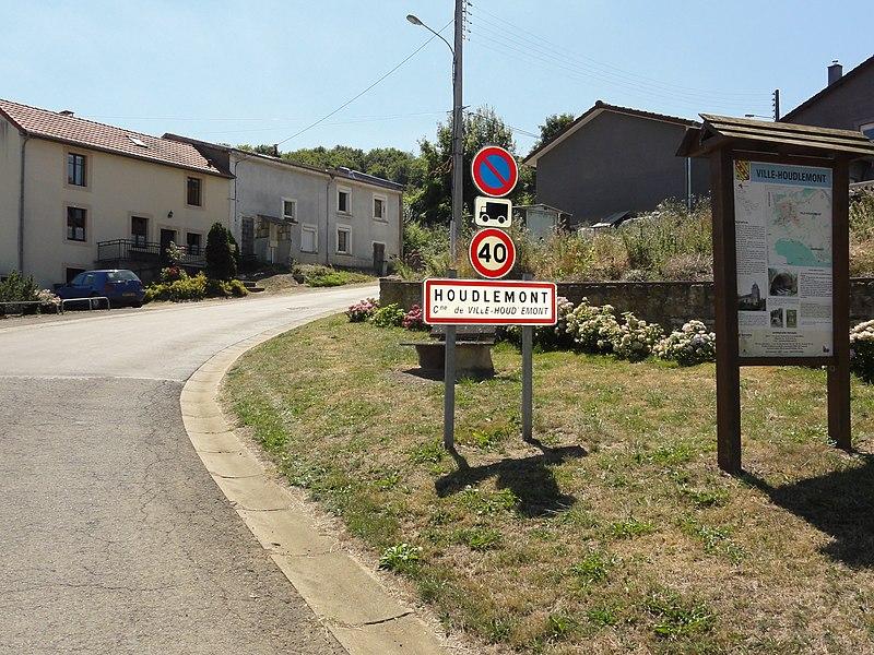 Ville-Houdlémont (Meurthe-et-M.) panneau d'entrée Houdlémont