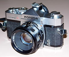 Vintage Konica Autoreflex A 35mm SLR Film Camera, Made In Japan, A Stripped Down Autoreflex T (13537100763).jpg
