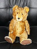 Vintage teddy bear, manufacturer unknown (front view).JPG
