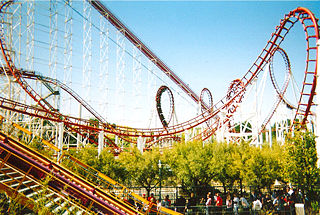 Viper (Six Flags Magic Mountain) steel roller coaster at Six Flags Magic Mountain in Valencia, California