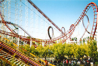 Viper (Six Flags Magic Mountain) - Viper, from X2's queue. X2's lift hill is in the foreground.