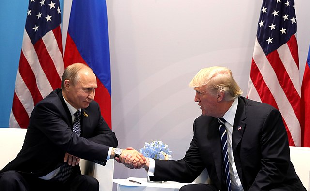 From commons.wikimedia.org: Vladimir Putin and Donald Trump {MID-184795}