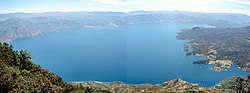 panorama of Lago Atitlan and Santiago