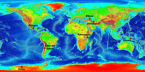 Volcanic Seven Summits - The Volcanic Seven Summits on an Elevation World Map.