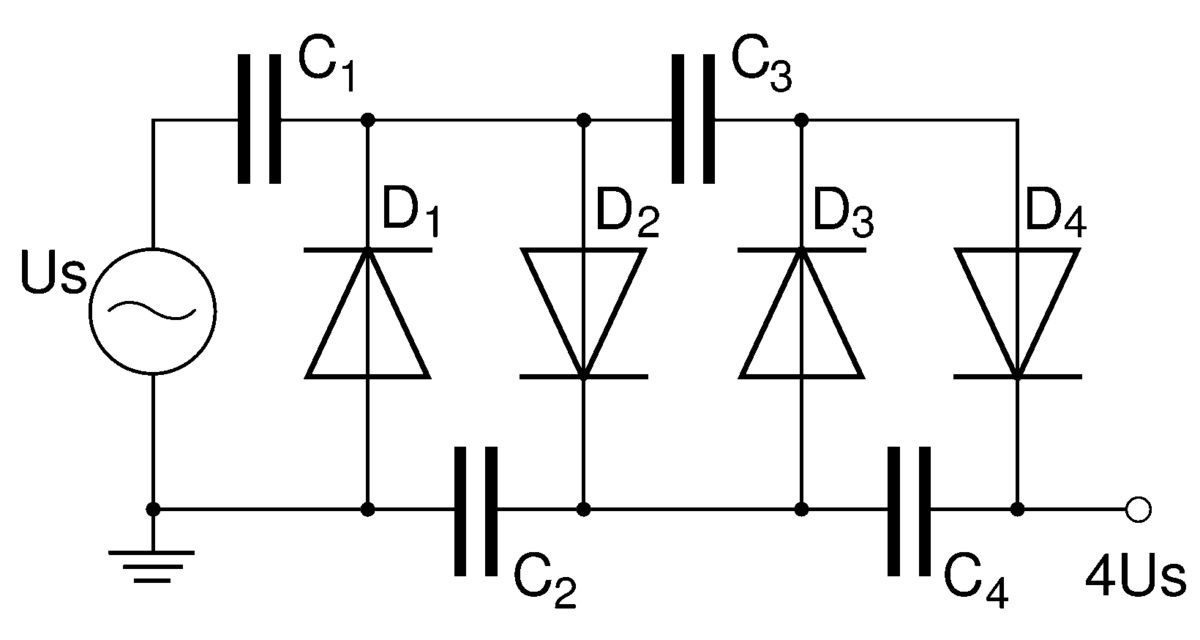 voltage multiplier - wikipedia, Wiring circuit