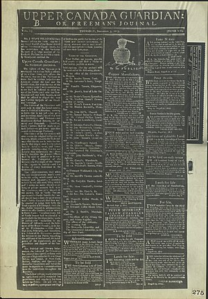 Upper Canada Guardian - Image: Volume One of the Upper Canada Guardian