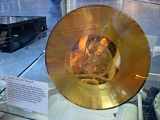 Voyager Golden Record - A copy of the record on display at the Udvar-Hazy Center in Washington Dulles International Airport.