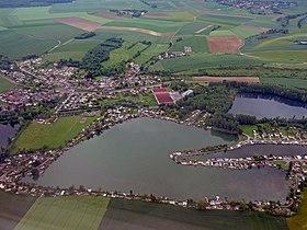 Vue aérienne des étangs de Milly-sur-Thérain.