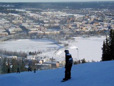Utsikt över Östersund från Gustavsbergsbacken på Frösön
