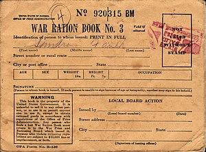 World War II War Ration Book No. 3, front, ca 1943