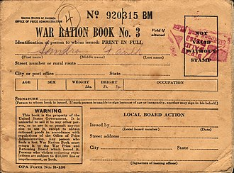Rationing in the United States - Image: WWII USA Ration Book 3 Front